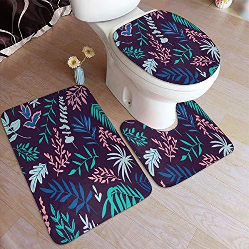 Kcmical Alfombras de baño de Hojas y Flores Juego de Almohadillas Antideslizantes Alfombras de baño Suaves Alfombra de baño Duradera Alfombra de baño de 3 Piezas
