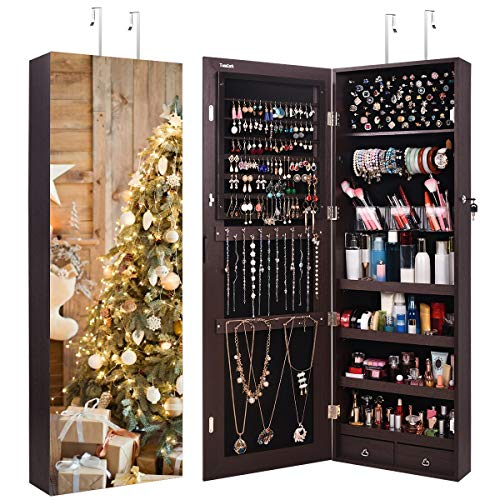 TomCare Jewelry Organizer Jewelry Cabinet Wall Door Mounted Jewelry Armoire Lockable with 2 Drawers Jewelry Box Frameless Mirror Earring Organizer Thickened Hanging Wall Mirror Jewelry Storage Vintage