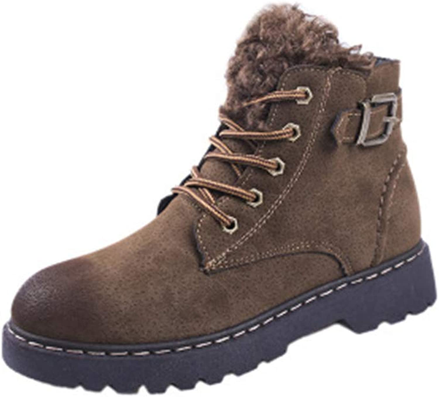 MINIKATA Womens Retro Winter Lace Up Boots Ladies Martin Ankle Boot Work Hiking shoes
