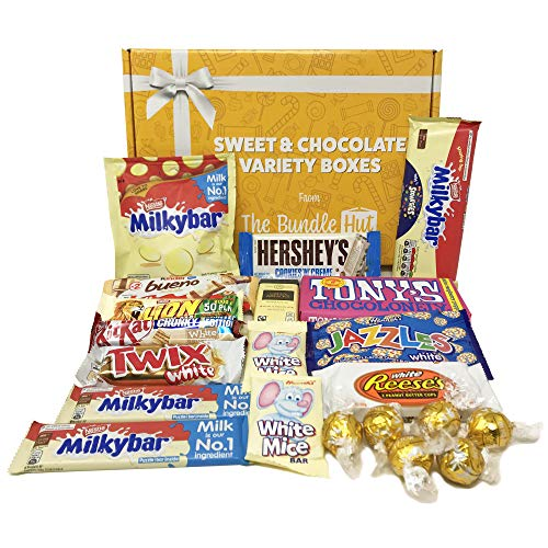 White Chocolate Hamper Gift Selection Box from The Bundle Hut: Includes Milkybar, Bueno, Hershey's, Tony's Chocolonely & Lindt, Gift for Christmas, 1000g