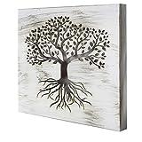 Cuadro Mandala de Pared - árbol de la Vida Calada, Fabricada artesanalmente en España- Mandala 3D Cuadrada Pintada a Mano (119 Blanco envejecido, 50x50 cm)