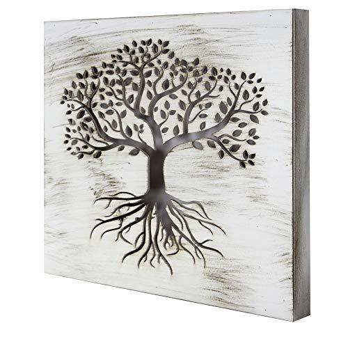 Cuadro Mandala de Pared - árbol de la Vida Calada, Fabricada artesanalmente en España- Mandala 3D Cuadrada Pintada a Mano- Modelo Mosaico 119 (Blanco Envejecido, 50x50cm)
