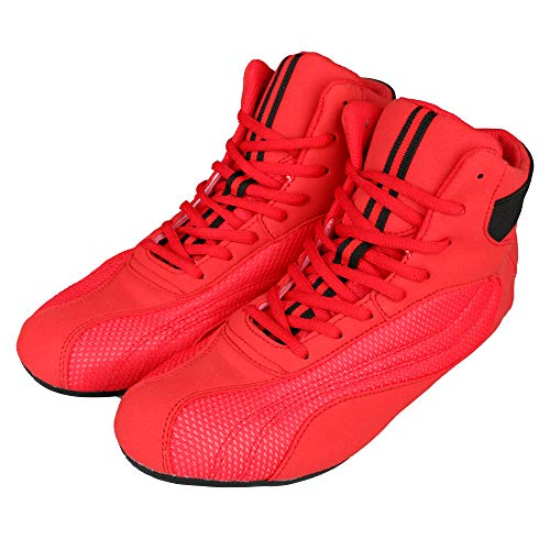 GINGPAI Wrestling Boxing Shoes for Men & Women,Bodybuilding Boxing Weightlifting MMA Shoes, Exercise Training Shoes, Running Shoe, for Karate Martial Arts Fitness Red