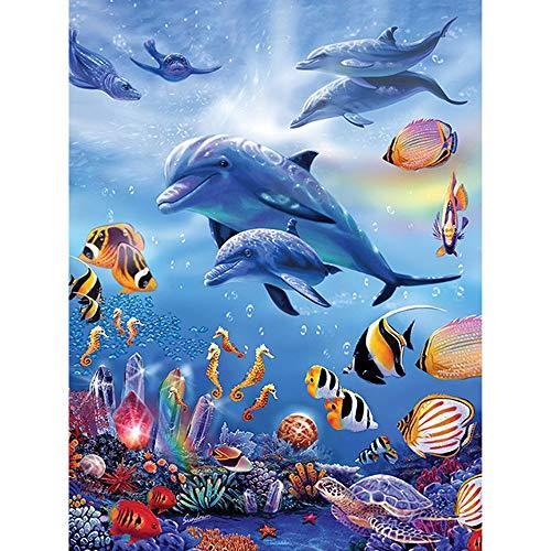 DIY 5D Diamant Malen nach Zahlen Kit 5D Diamant Painting Strand und Meer Delphin Strass Stickerei Kreuzstich Kits Supply Kunst Handwerk Leinwand Wanddekor Home Decor 30 x 40 cm