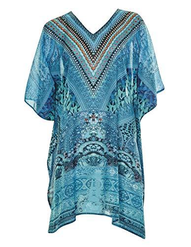 Sunflair 23822-23 Women's Ethno Bohemé Turquoise Aztec Print Poncho 44