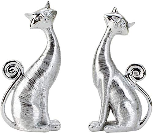Lifestyle & More Moderne Skulptur Dekofigur Katze sitzend 2 Stück aus Keramik Silber Höhe 21 cm