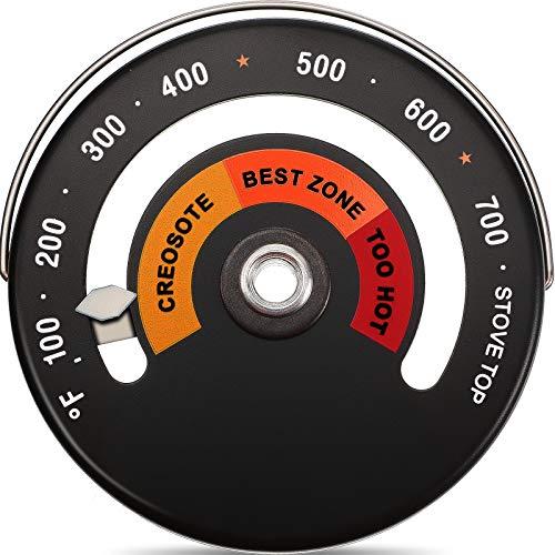 Termómetro Superior Magnético Termómetro de Estufa de Leña Termómetro de Tubo de Chimenea de Estufa Medidor de Temperatura Evitdando Daño de Ven
