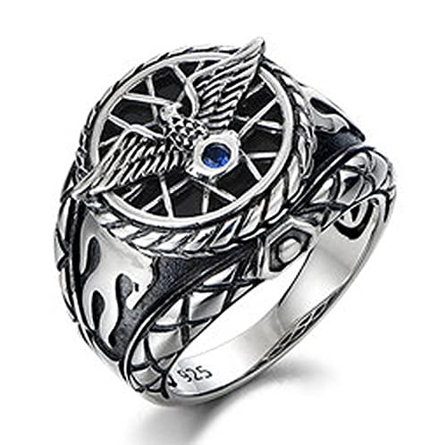 RXSHOUSH Anillos para hombres de plata 925 anillo de águila voladora joyas Ins Boyfriend Son Lucky Rings, 18#