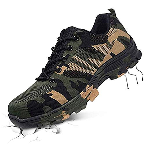 mofeng Sicherheitsschuhe Stahl-Zehen-Sicherheitsschuhe Arbeitsschuhe Pannensicher Arbeitsschuhe Sneaker leicht weich und atmungsaktiv, Grün - grün - Größe: 45.5 EU