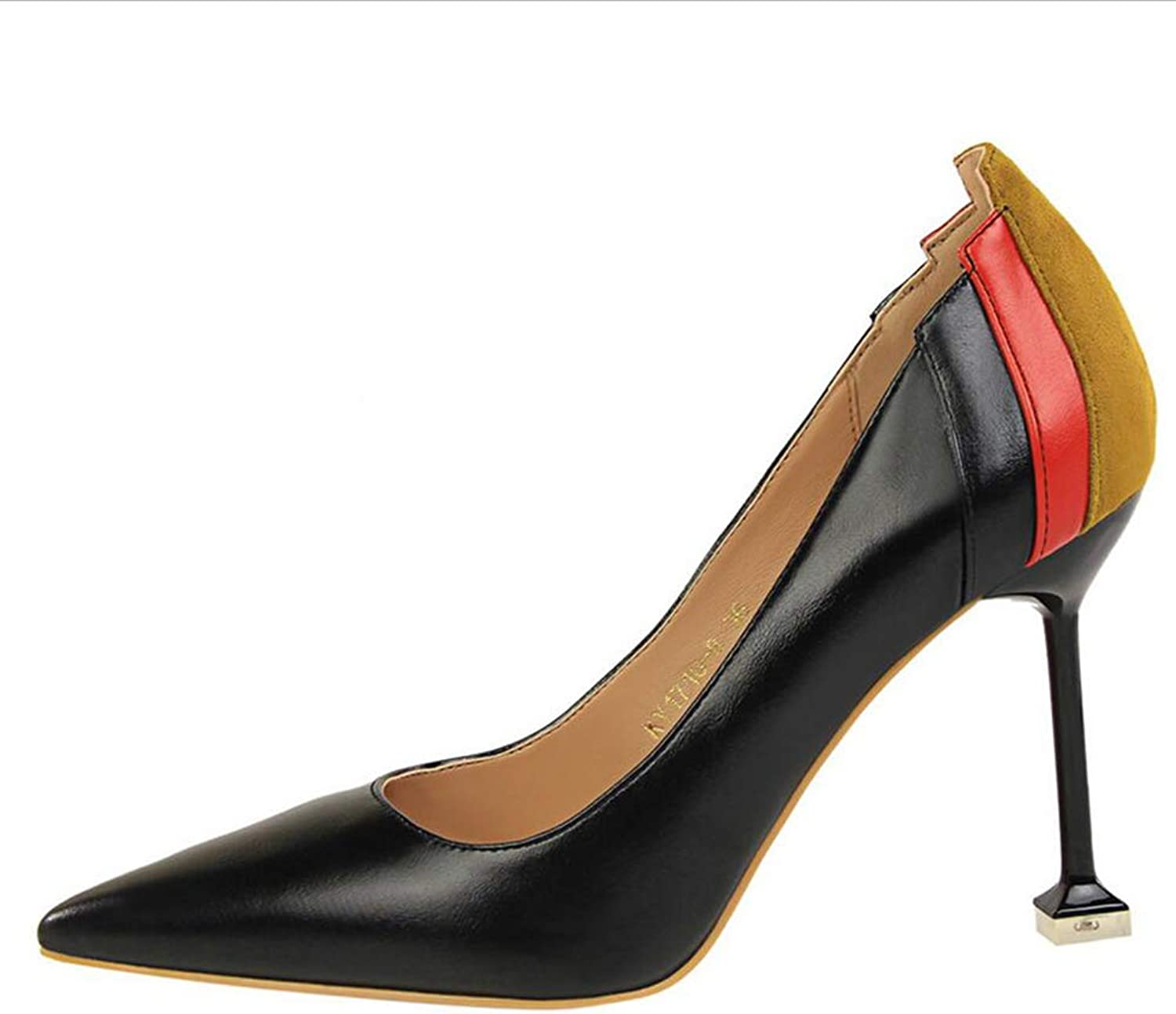 shoes Court shoes Women's shoes High HeelFashion Simple Female Fine Heel Shallow Mouth Pointed Mixed colors Sexy shoes Haiming (color   Black, Size   39)