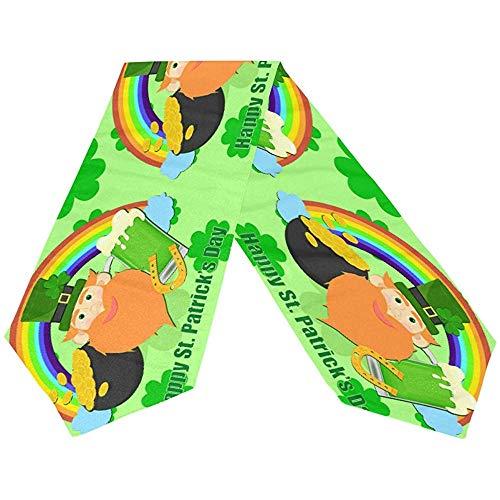 sunnee-shop Gelukkige St Patrick daggroen-shamrock-ivoor-hoed-lange tafelloper, lenteregenboog-rechthoekig tafelkleed-loper