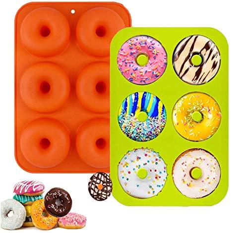 Muffinform Silikon,Silikon Donut Formen, silikon Donut backform Antihaft Donut Backblech für Kuchen Keks Bagels Muffins, Geeignet für Geschirrspüler, Backofen, Mikrowelle-6 Mulden-2 Stück-Rosa/Grün