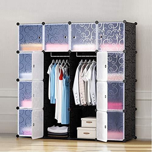 YORKING 16 Cube DIY Plastic Wardrobe Cupboard Closet Cabinet Organizer Storage Furniture Unit Cabinet
