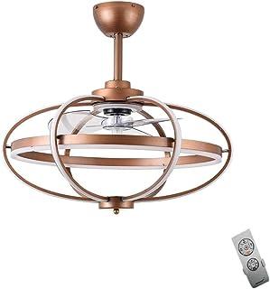 Ventilador De Techo LED Moderno Con Lámpara De Araña Velocidad De Viento Ajustable Control Remoto Ventilador De Luz Colgante Con Iluminación Colgante Para Cocina Habitación De Dormitorio (Bronze)