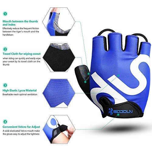 KONVINIT Fahrradhandschuhe Fingerlos Blaues Gummi Gepolstert Frauen & Herren Gym MTB Atmungsaktiv Rutschfestes Draussen Sport Gloves S by - 5
