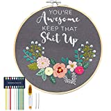 You're Awesome Keep That Up - Embroidery Kit for Beginners, Cooliya Embroidery Starter Kit Craft Kit Cross Stitch Kit Including Patterned Embroidery Cloth Hoop Threads Needles Scissors (Gray)