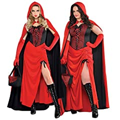 LADIES RED RIDING HOOD HALLOWEEN GOTHIC FAIRYTALE FANCY DRESS COSTUME - ADULTS DRESS, LACE UP GINGHAM CORSET, REVERSIBLE HOODED CAPE, BLACK OPEN TOP BASKET AND GINGHAM HANDKERCHIEF (XLARGE) #3