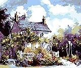 Malen nach Zahlen Erwachsene Kinder DIY Malerei Gartenhaus 40x50cm Rahmenlos