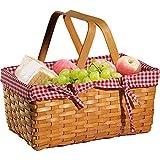 BFCDF Cestas de Picnic, Cesta de Mimbre con Asas Plegables Dobles, Canasta de Picnic Familiar, Almacenamiento de Huevos de Pascua y Canasta de Pascua