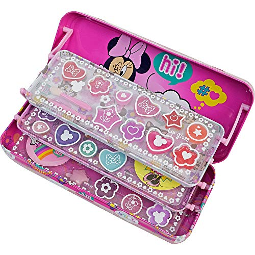 Triple the Fun Minnie Mouse Tin - Neceser Minnie, Set de Maquillaje para Niñas - Maquillaje Minnie - Selección de Productos Seguros en un Estuche con 3 Pisos