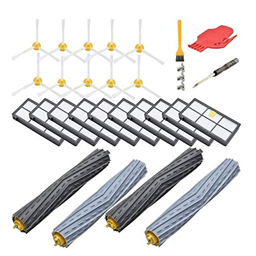 Kit de accesorios de repuesto para Irobot Roomba 800 Series 850 860 861 866 870 880 890 900 Series 960 980,10 filtro, 10 cepillos laterales, 2 (color: multicolor) reemplazo (color: multicolor)
