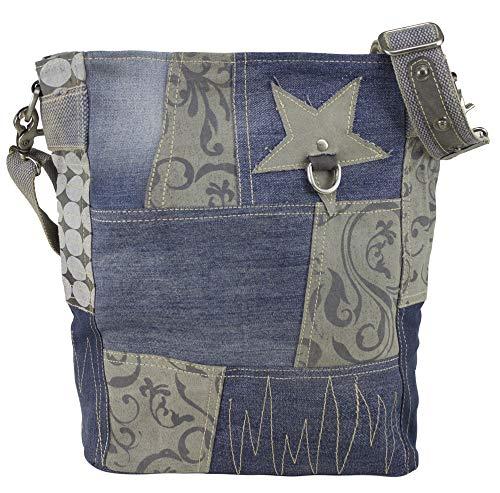 Sunsa Damen Blaue Umhängetasche große Vintage Canvas Schultertasche Crossbody Jeans Tasche Damentasche Vintage Studententasche Unisextasche Sale
