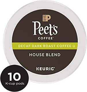 Peet's Coffee K-Cup Pack Decaf House Blend, Dark Roast Coffee, 10 Count Decaf Coffee, Bright & Balanced Dark Roast Blend of Latin American Coffee, Medium Bodied
