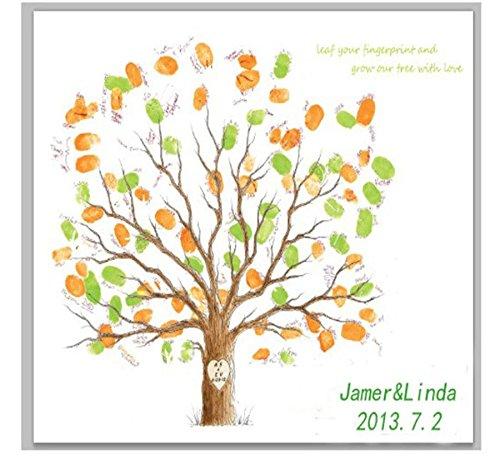 GxNI Creativo de la boda de la huella digital del árbol rótulos Firma Alternativa Libro de huella digital cartel del árbol, Dedo pintada por un aniversario de boda cumpleaños de huellas digitales (Hojas coloridas) , 30x40cm (white canvas)