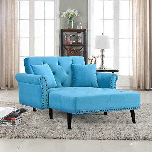 Casa AndreaMilano Modern Velvet Fabric Chaise Lounge-Futon Sleeper Single Seater with Nailhead Trim & Reclining Backrest (Blue)