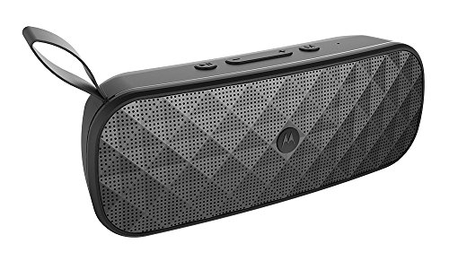 Motorola Sonic Play+ 275  Bluetooth Lautsprecher mit • Stereo Sound • FM Radio • Micro SD • Aux-In , IP 54 staub- und wasserdicht , 10 Stunden Spielzeit , 15 Meter Reichweite, Schwarz
