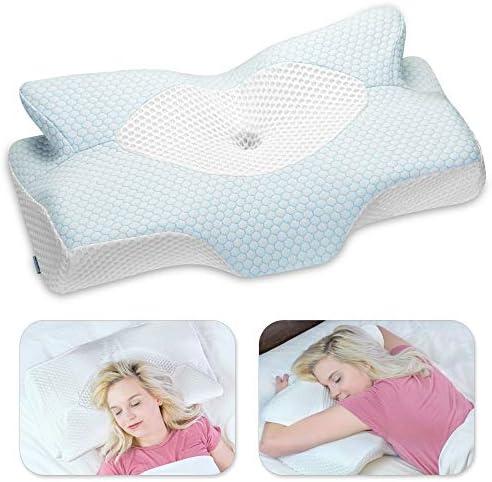 Elviros Cervical Memory Foam Pillow Contour Pillows for Neck and Shoulder Pain Ergonomic Orthopedic product image