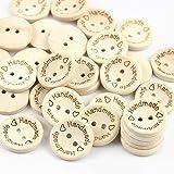 Hrroes 100 Pezzi Bottoni in Legno Handmade with Love Bottone in Legno per Cucire Decorazioni Artigianali (14.5mm)