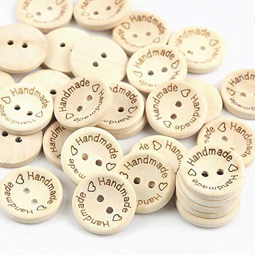Hrroes 100 Piezas Botones de Madera Botones de Amor de Madera Botones de Costura Hechos a Mano Personalidad Botones de Madera para Manualidades, 14.5mm