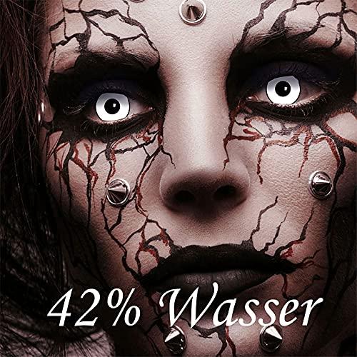 3-Monatslinsen WHITE MANSON, weiße Zombie Kontaktlinsen, Crazy Funlinsen, Halloween, Fastnacht, weiß - 7