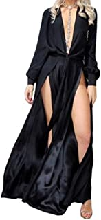 Miss ord Women's Deep V Long Sleeve Slim Split Maxi Dress with Belt
