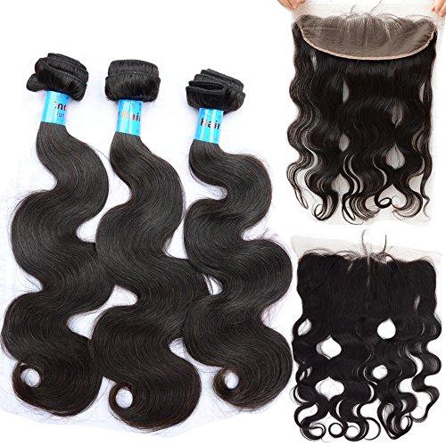 NOBLE QUEEN Hair Lot de 4 trames de cheveux indiens ondulés avec cheveux de bébé 33 x 10,2 cm (7,6 x 50,8 cm + frontal 2,5 x 35,6 cm)