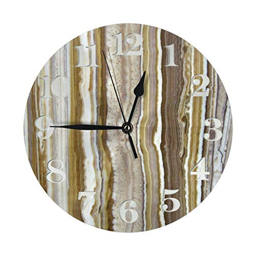 GOSMAO Reloj de Pared Redondo, líneas Verticales con temática de Roca de mármol ónix, Reloj de decoración del hogar para Sala de Estar, Dormitorio, Oficina