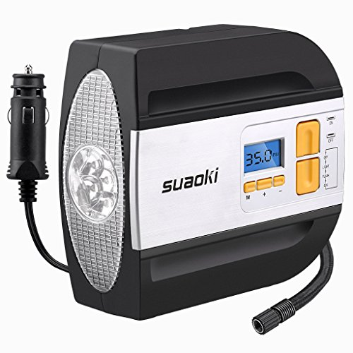 SUAOKI 12V DC Tire Inflator Electric Portable Auto Air Compressor Pump to 100PSI for CarTruck Bicycle Basketball