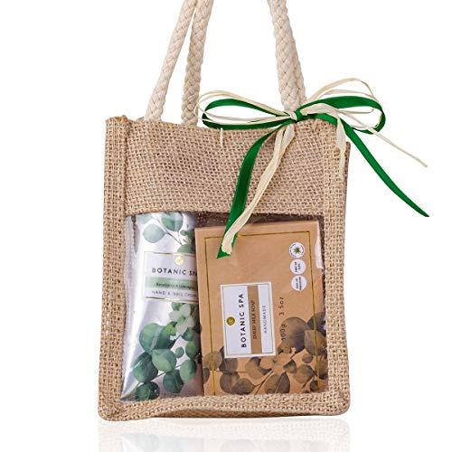 Accentra Beauty Geschenkset Botanic Spa in dekorativer Jutetasche und zartemDuft, Pflegeset mit handgemachter Schafmilchseife, Handcreme und Netzschwamm