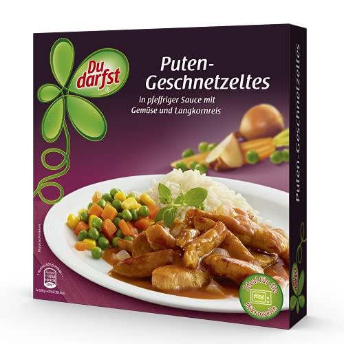 Putengeschnetzeltes in pfeffriger Sauce mit Gemüse und Langkornreis – Fertiggerichte für die Mikrowelle / Wasserbad - Du darfst
