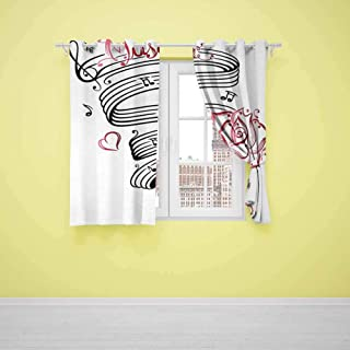 Blackout Curtain Tattoo (2 planels,W36 x L72) Indoor Curtain Language of Love Valentines Musical Inspiration on Sheet with Rose Hearts White Black and Pink