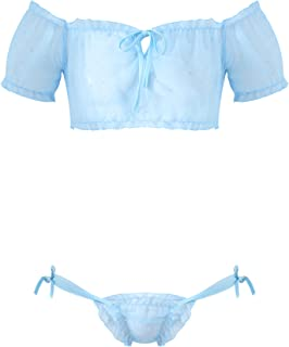 CHICTRY Men's Sissy 2 Pieces Lingerie Set Ruffled Lace Crop Top and Side Tie Thongs Girly Nightwear