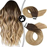 Moresoo Tape In Extensiones de Cabello Humano Color Balayage #4 Brown to #6 and #24 Light Blonde Brasileño Remy Tresse Ombre Extensión Lisa 16 Pulgadas/40cm 20pcs/50g