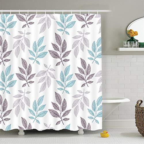 X-Labor Bunt Baum Duschvorhang Anti-Schimmel Wasserdicht Polyester Textil Stoff Badewannevorhang Shower Curtain Blatt-2 240x200cm
