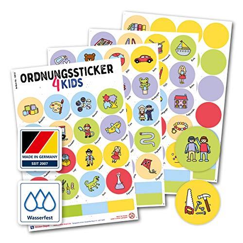 Typographus - 104 kindgerechte Aufkleber für Spielzeugkisten, Boxen & Möbel - Sorgen für Ordnung im Kinderzimmer - Ordnungssticker, Lernen, Aufbewahrung, Ordnungssystem (Standard)