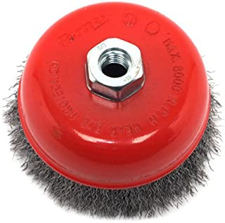 Forney 72754 5-Inch by 5/8-11 Crimped Cup Brush .014 Carbon Steel