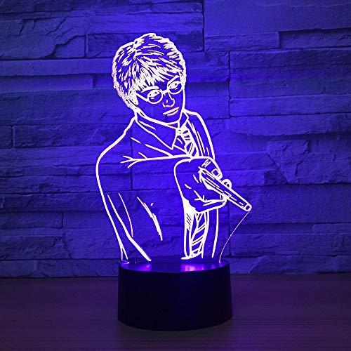 HNXDP Hombres guapos Luz de noche 3D LED Lámpara de noche para dormir del bebé Interruptor táctil remoto USB 7 Mesa de cambio de color Escritorio Lampe El mejor regalo