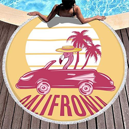 Wraill Toalla redonda de playa con diseño de flamenco california, toalla de playa, mantel de pícnic, unisex, de secado rápido, absorbente, con borla blanca, 150 cm
