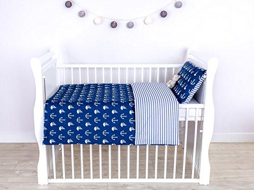 LOOLAY® 2 tlg. Bettwäsche für Kinderbett Baby Bettset Größe 100x135 cm (40x60 cm) Muster: Anker marineblau/ Streifenmuster marineblau