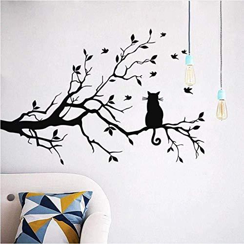 2 pegatinas de pared con diseño de gato en rama de árbol largo para decoración de habitación de los niños